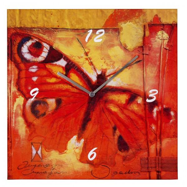 """Wanduhr Quartzwanduhr """"Peacock Butterfly"""" Leinen, Küche, Wohnzimmer, Diele/Flur, 40x40 cm, in R"""