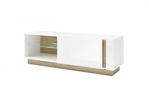 """Lowboard """"Fresh"""" weiß Hochglanz Grandson Oak Dekor 138x46x40cm Fernsehboard"""