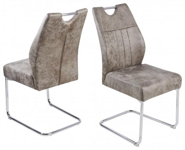 """2er-Set Schwingstuhl """"Manni"""", silber/vintage hell, 44x97x59 cm, Küchenstuhl, Esszimmerstuhl, Küche"""