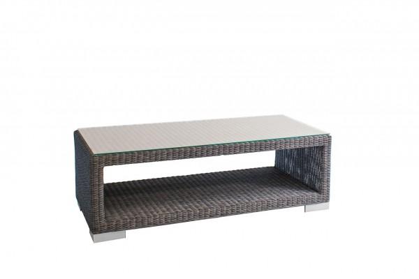 "Loungetisch ""Maryland II"" Aluminiumgestell Rattan grau Loungemöbel 120x60x40 sofa tisch"