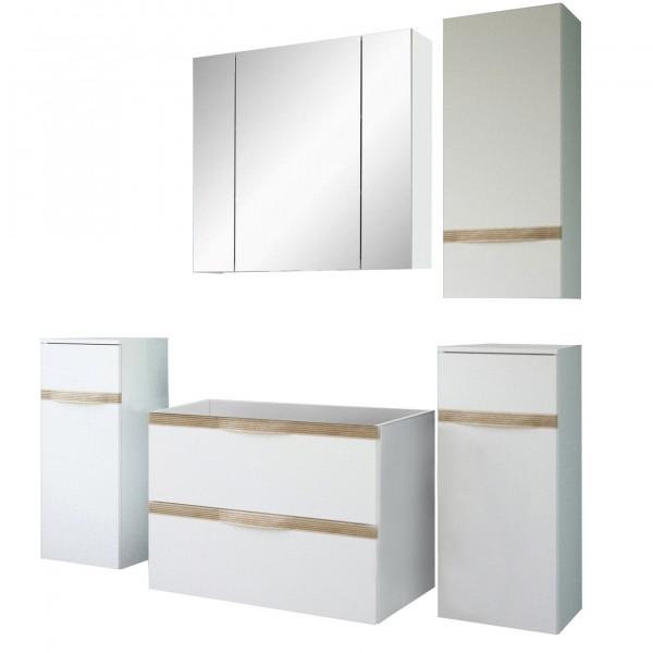 "Forest Dream A9CA00V501 Badezimmer-Set 5-teilig Candy V5-01 5er Set Badezimmer ""Sola"" weiß Hochglanz 178,4x190x44,3cm (B/H/T) Unterschrank"