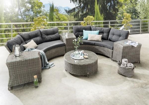 "Lounge ""Fernando"", grau/anthrazit, 5er-Set, inkl. Polster, Loungeset rund, Gartensitzgruppe, Garten"