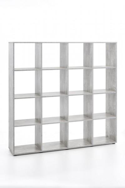 "Regal / Raumteiler ""Amadeus"", Beton Nachbildung, 138,5 x 142,5 x 29 cm, 16 Fächer"