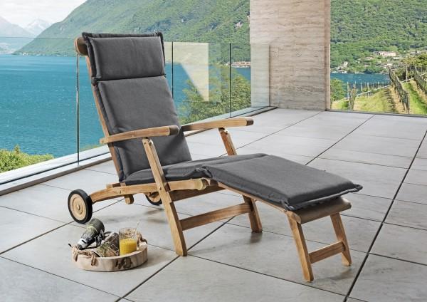 """Polster für Teak-Deckchair """"Deluxe"""", grau, 180 x 48 x 6 cm, Polsterauflage, Auflage, Garten"""