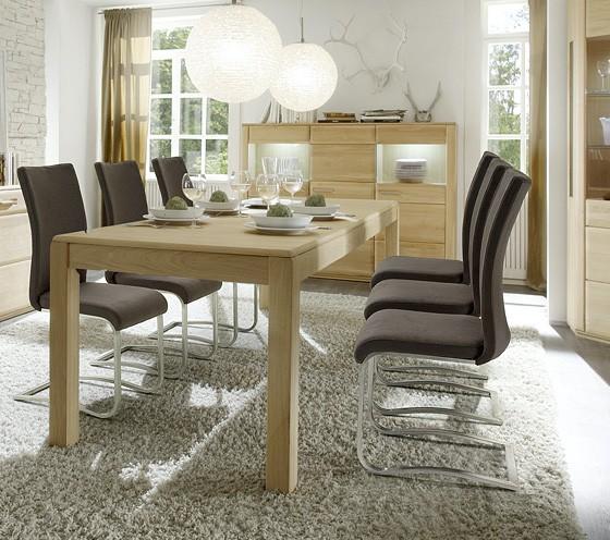 """Esstisch """"Anriel"""" Tisch ausziehbar, Eiche Bianco furniert, 160(260)x77x90cm Esszimmer Küchentisch"""