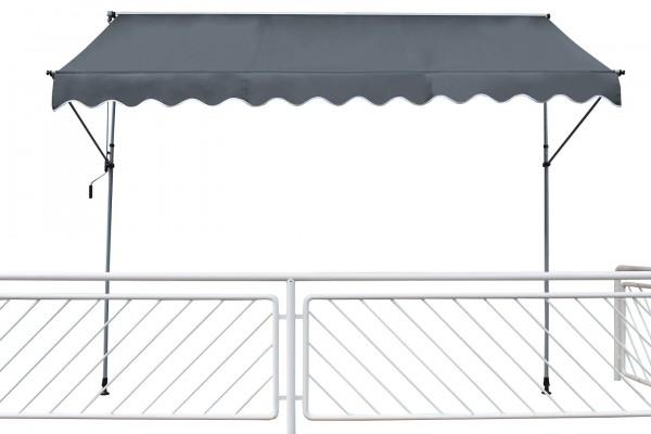 "Klemmarkise ""Marlina"" anthrazit grau Stahlrohrgestell Polyester 200x120cm Sonnendach"