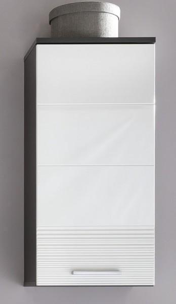 Hangeschrank Quin Grau Weiss Hochglanz Badezimmerschrank 36 X 79