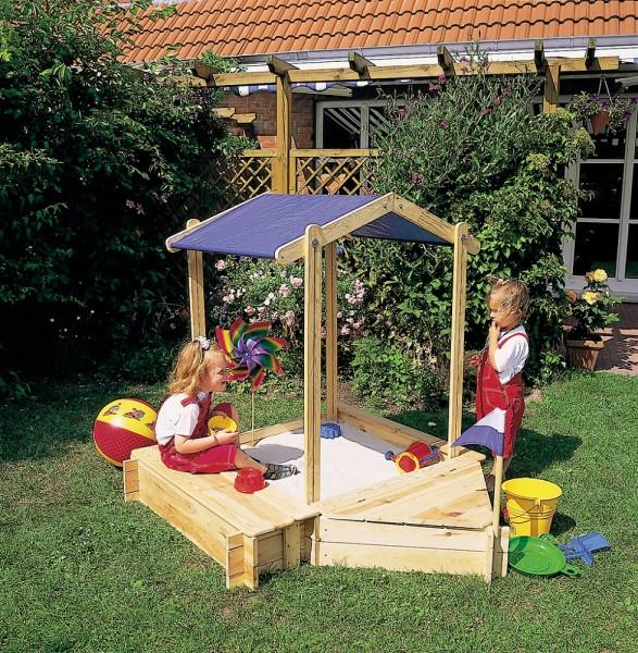 """Sandkasten """"Little Skipper"""" Kiefer, 146 x 124 x 132 cm, Bootsandkasten, Garten, Spielzeug"""