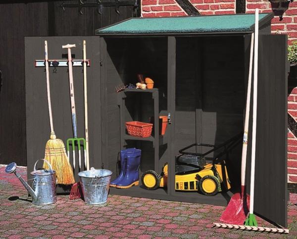 "Geräteschrank ""Jakob"" Kieferholz anthrazit 149 x 77 x 164cm Gartenschrank Outdoorschrank"
