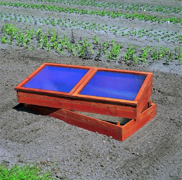 """Frühbeet """"Ina"""", Kiefer, 140 x 70 x 36/44 cm, Gartenbeet, Gartenfrühbeet, inkl. Unterkasten, Garten"""