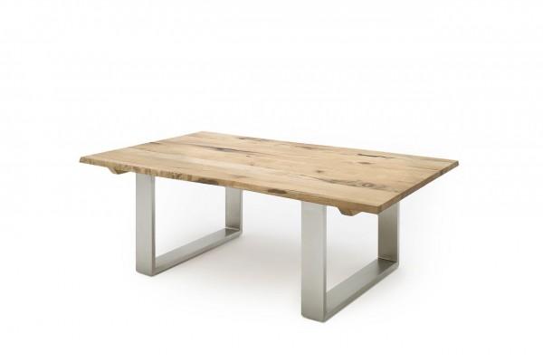 """Couchtisch """"Glasgow"""" - Tisch Couchtisch Massivholz Zerreiche geölt Metall Edelstahl 120x43x75 50kg"""
