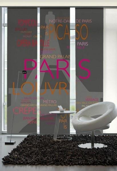 Flächenvorhang Schiebevorhang 3er Set La Tour Eiffel Pink-Orange inkl. Montagesatz
