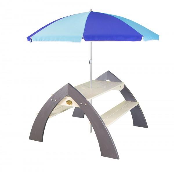 """Picknick-Set """"Ella"""" XL aus Zedernholz mit Sonnenschirm in weiß grau 108x119x75cm Picknicktisch"""