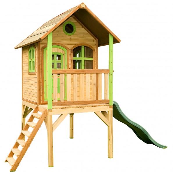 """Holzspielhaus """"Wencke"""" mit Veranda + Rutsche + Leiter 172x272x318cm aus Zedernholz in braun"""