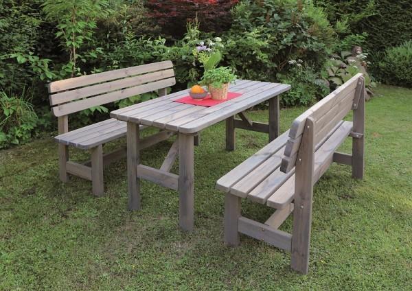 "Holz-Garnitur ""Regina"", 3er-Set, grau, Nadelholz, Gartenset, Gartensitzset, Tisch, Bänke"