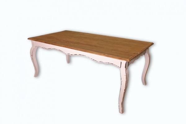 "Beauty.Scouts Tisch massiv ""Vintage Dream"" Ulmenholz Chabby Chic 200x90x78 cm weiss"