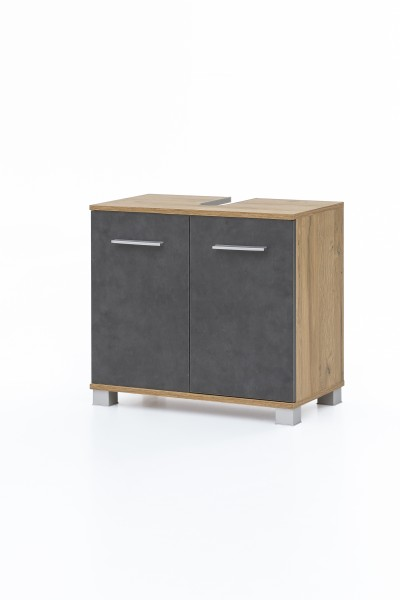 """Waschtischunterschrank """"Judy 6"""", 60 x 56 x 32 cm, Alteiche/Graphit, 2 Türen, Badezimmer, Schrank"""