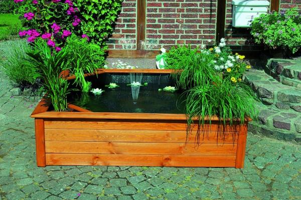 """Hochteich """"Larry"""", Kiefer, 144x144x40 cm, Teichfolie + Pumpe, Gartenteich, Dekoteich, Teich, Garten"""