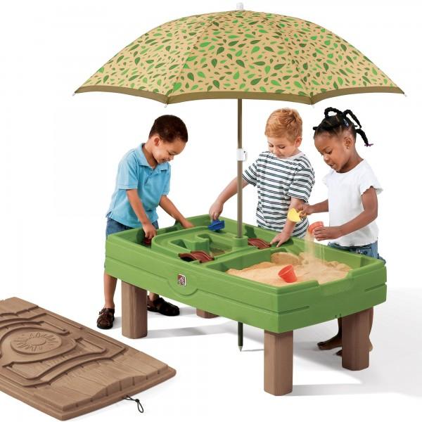 """Wasserspieltisch """"Carl"""" aus Kunststoff 66x118,1x152,4cm inkl. Sonnenschirm Sand- und Wassertisch"""