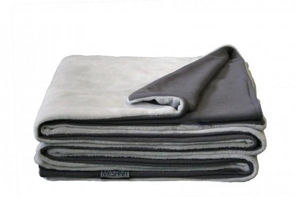 """Wohndecke """"Bella"""" grau Wendeoptik Polyester Microfaser-Nicky Plüsch 150x200cm Tagesdecke"""