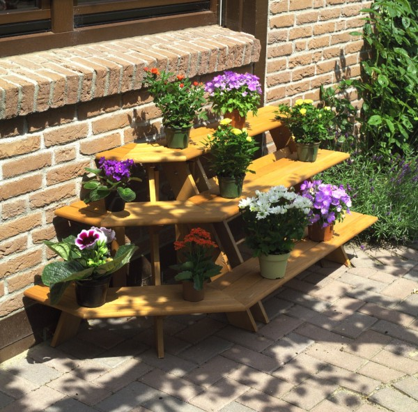 """Blumentreppe """"Valentina"""", honigbraun, 137 x 59 x 62 cm, Blumendekoration, Blumendeko, Garten"""