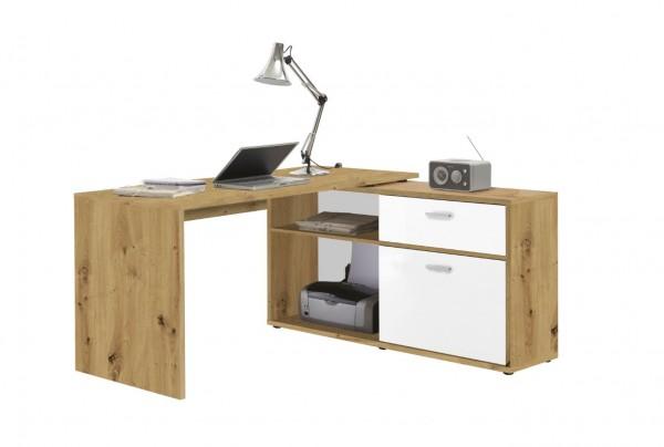 """Winkelschreibtisch """"Janette"""" Artisan Eiche/Weiß, Fächer, Schubkasten, Schreibtisch, Arbeitszimmer"""