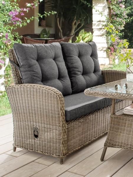 "2er Sofa ""Pearl"", vintage grau, 125 x 74 x 99 cm, mit Polster anthrazit, Gartensofa, Garten, Balkon"