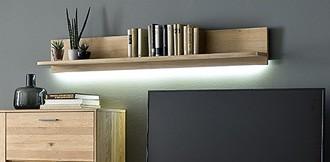 "Wandboard ""Piet"" Board, Eiche Bianco NB, 160x24x23cm, Wandregal, Regal, Hängeregal"