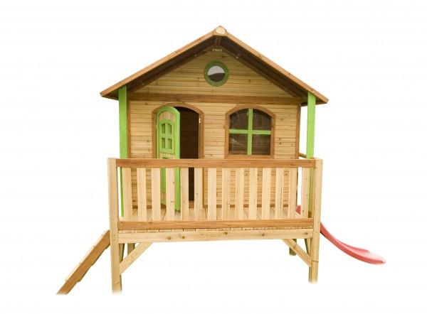 """Holzspielhaus """"Vegard"""" mit Veranda + Leiter + Rutsche 212x349x233cm aus Holz in braun"""