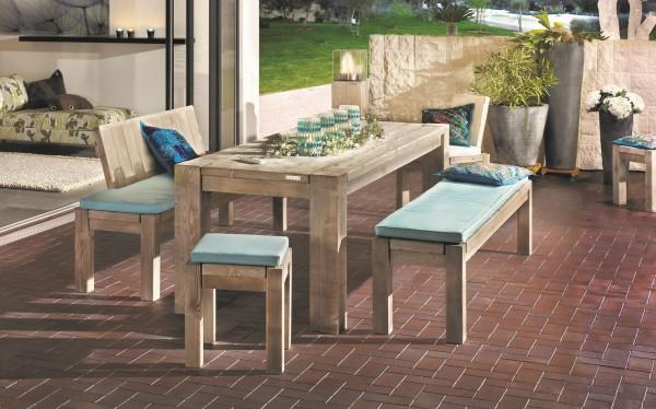 "Designer Sitzgarnitur ""Viktoria"", Holz, 5er-Set, Gartenmöbel, Lehnenbank, Bank, Tisch, Stuhl, Hocker"