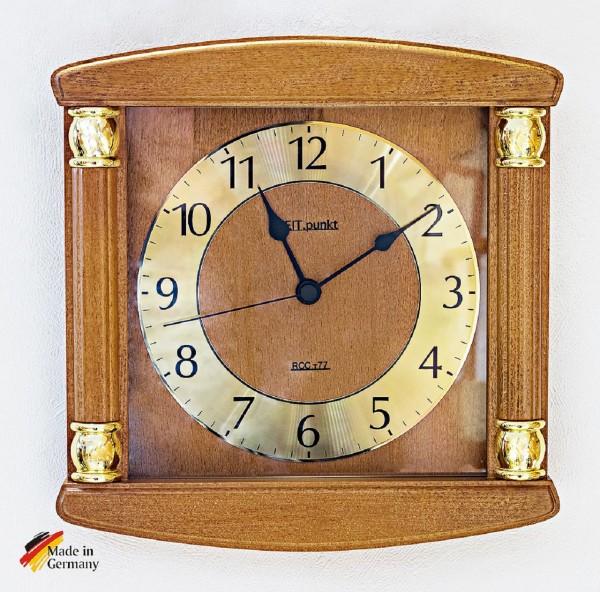 "Funk Wanduhr ""Anne"" aus massivem Holz, Zifferblatt aus Aluminium, 27x27 cm, kirsche"