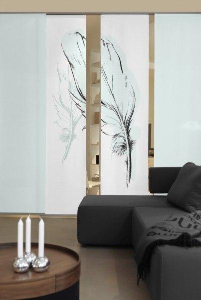 2-teiliger Flächen-Schiebevorhang Emotion Textiles Konturfeder mint 120 x 260 cm