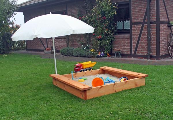"""Sandkasten """"Luna"""", Kiefer, honigbraun, 145 x 145 x 24 cm, mit Abdeckung, Kindersandkasten, Garten"""