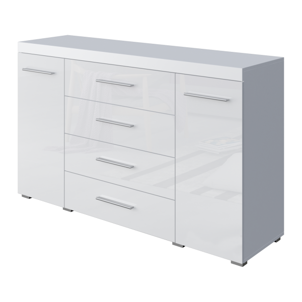 """Sideboard """"Mira XL"""" Hochglanz weiß 2 Türen 4 Schubladen 140x38,5x84cm Kommode"""