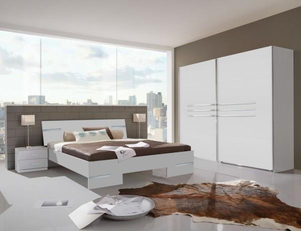 """Schlafzimmer Programm """"Flink Air"""", Bett, Schwebetürenschrank u. Nachttische, Alpinweiß"""