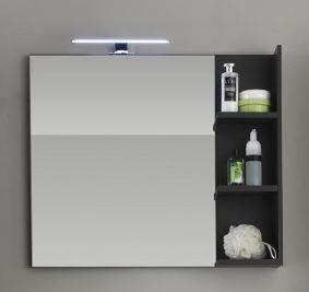 """Wandspiegel mit Ablage """"Arwon"""", Spiegel wahlweise mit oder ohne Beleuchtung Grau MDF 79x67x14cm"""