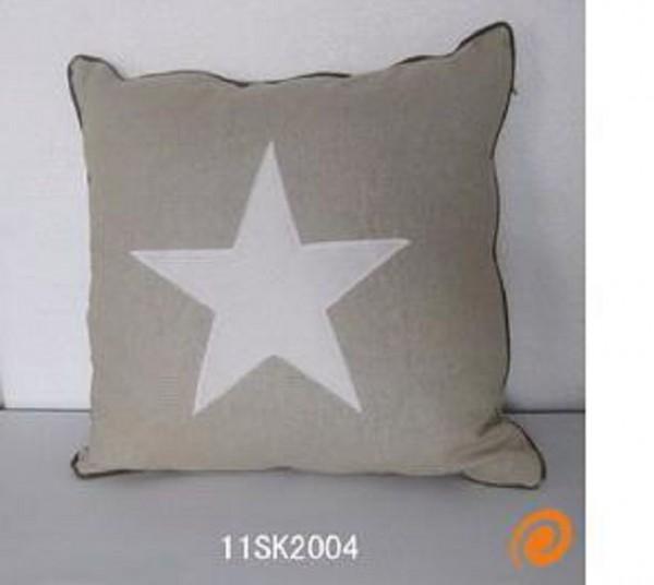 "Beauty.Scouts Kissen Zierkissen ""White Star"" 40x40x14cm beige"