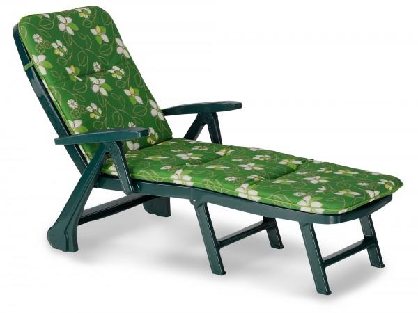 """Rollliege """"Phil"""" inkl. Polsterauflage 72x189x97cm Kunststoff grün/Blumenornamente Gartenliege"""