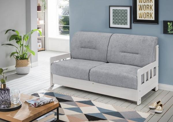 "Sofa ""Vague"" Weiß Grau 154 x 88 x 90 cm (B/H/T) 2-Sitzer mit Liegefunktion Schlafsofa"