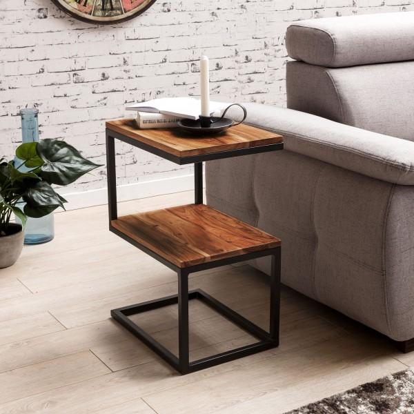 """Beistelltisch """"Melli"""" Akazie Massivholz Metallgestell schwarz 45 x 60 x 30 cm Tisch Anstelltisch"""