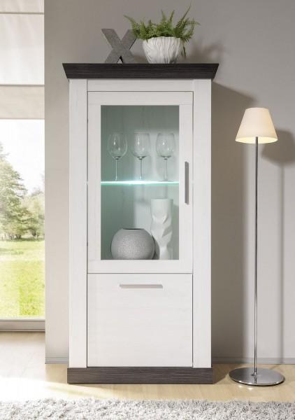"""Vitrine mit Glasrahemtür """"Lyon"""" - in Pinie weiß Nachbildung, Wengenachbildung in 70x146x37 cm"""