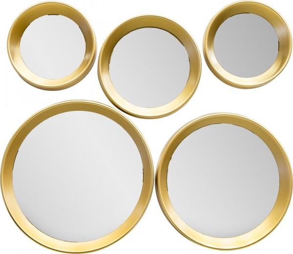 "Spiegelprofi 61392206 Rahmenspiegelset MARIE Rahmenspiegel-Set ""Zoe"", 5-teilig, gold, je ca. Ø 25/22/17/14cm Wandspiegel Spiege"
