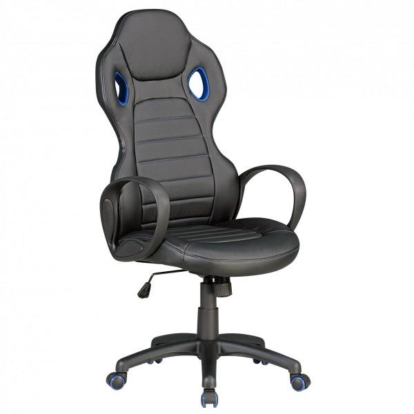 "Bürostuhl ""Staphan"", schwarz/blau, Kunstleder, Schreibtischstuhl, Gamingstuhl, Drehstuhl, Sessel"