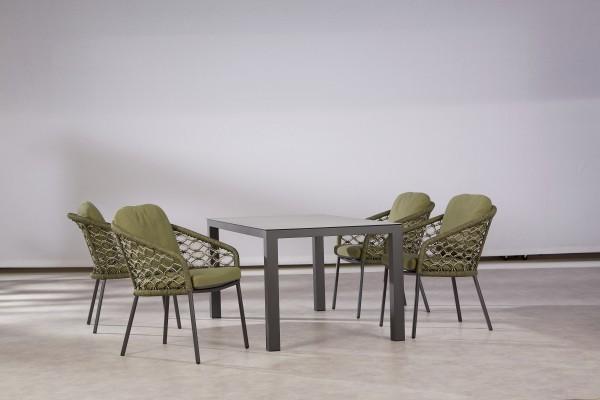 "Gartengruppe ""Collin"" 5-tlg. anthrazit/grün Tisch 160x90cm 4xDining-Sessel Makramee-Optik Sitzgruppe"