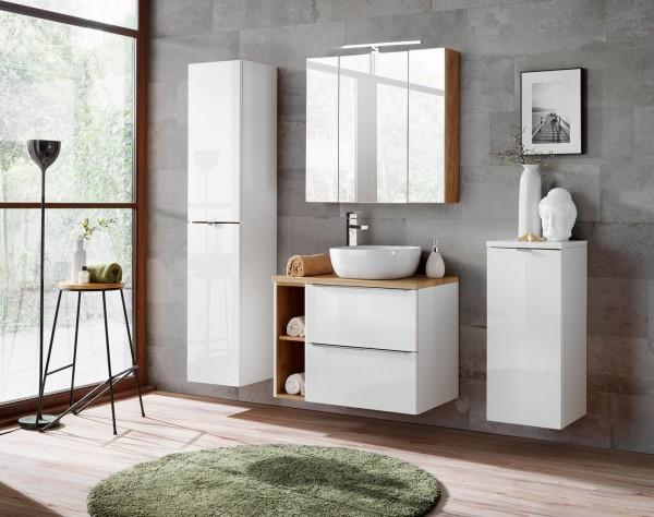 """Badmöbelset """"Melbourne V"""" weiß 7-teilig, Badezimmerset, Badezimmer inkl. Beleuchtung modern"""
