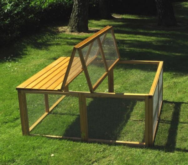 """Freilaufgehege """"Hoppel"""", Kiefer, 130 x 130 x 53 cm, Kaninchengehege, Freilaufstall, Garten"""