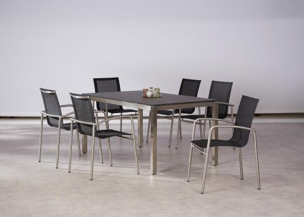 "Gartengruppe ""Pia"" 7-tlg. Edelstahl/schwarz Tisch 6xStapelsessel Sitzgruppe Gartengruppe Garten"