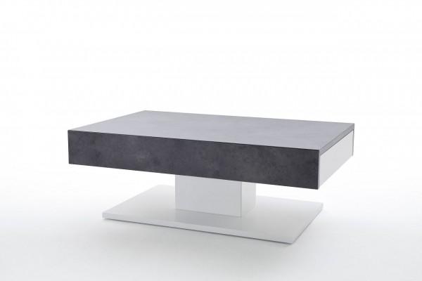 """Couchtisch """"Malaga"""" - Tisch Beton Dekor Matt weiss zwei Schubladen 110x40x70 30 kg"""