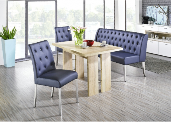 "Essgruppe ""Ohio II"" Säulentisch Artisan Oak Struktur 1x Polsterbank 2x Stuhl Lederimitat Dark Blue"