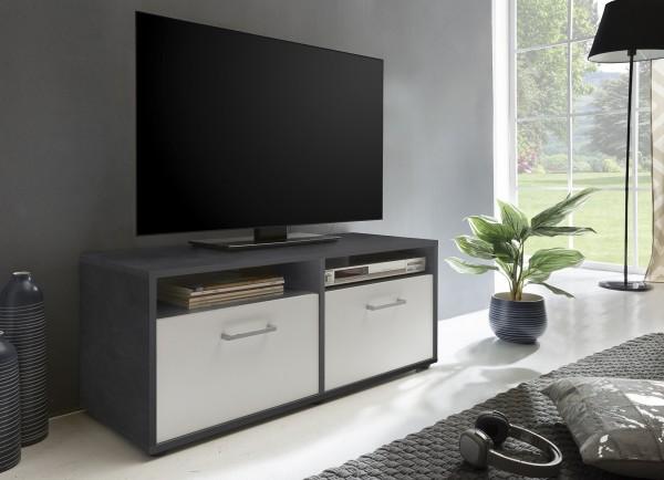 """TV-Lowboard """"Frank 10"""", graphit/weiß, 95 x 40 x 37 cm, 2 Klappen, 2 offene Fächer"""